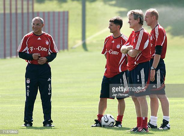 The coaches of FC Bayern Munich Felix Magath,Werner Leuthard, Sepp Maier and Seppo Eichkorn stand next to each other during the first training...