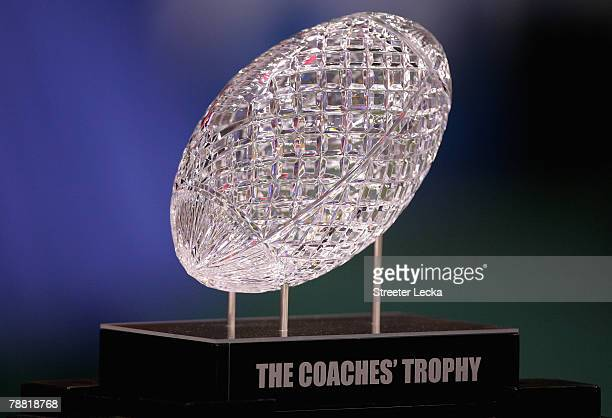 The Coaches' Trophy is displayed before the Ohio State Buckeyes take on the Louisiana State University Tigers in the AllState BCS National...
