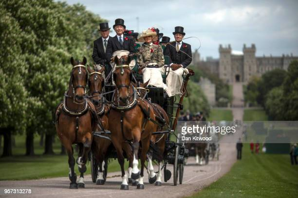 The Coaching Marathon makes its way along the Long Walk on the third day of the Royal Windsor Horse Show on May 11, 2018 in Windsor, England. The...