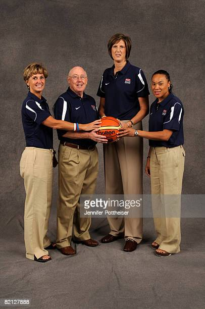 The coaching staff of the Women's Basketball Senior National Team poses on July 30 2008 in Palo Alto California Assistant Coach Gail Goestenkors...