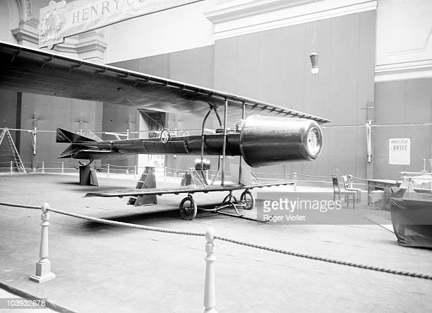 The Coanda1910 experimental aircraft on display at the Second International Aeronautical Exhibition at the Grand Palais in Paris October 1910 The...