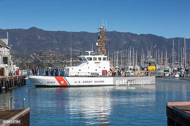 The Coast Guard Cutter Blackfin prepares to dock at its harbor berth on January 12 2016 in Santa Barbara California Because of its close proximity to...