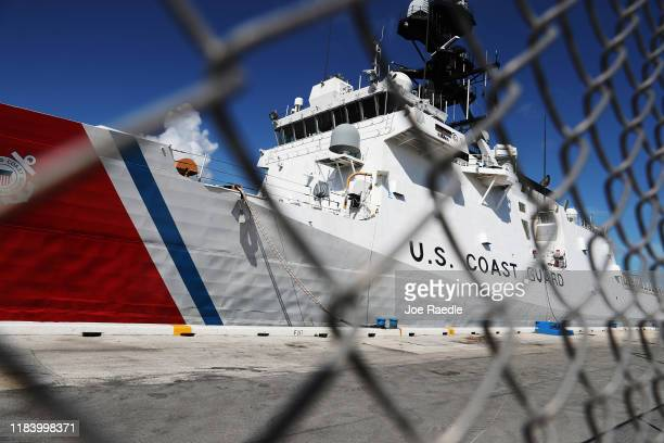 The Coast Guard Cutter James is seen before approximately 27,300 pounds of cocaine and 11,000 pounds marijuana is offloaded at Port Everglades on...