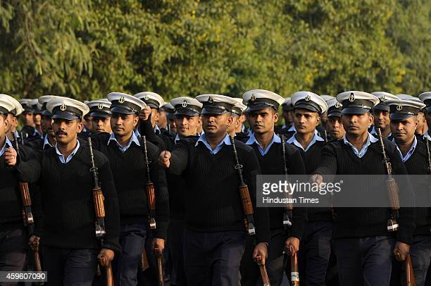 The Coast Guard marching contingent passes through a road during the full dress rehearsal for the Republic Day Parade 2015 on November 26 2014 in...
