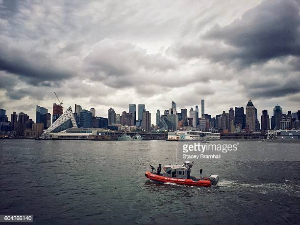 The Coast Guard patrols New York City's Hudson River on a stormy day