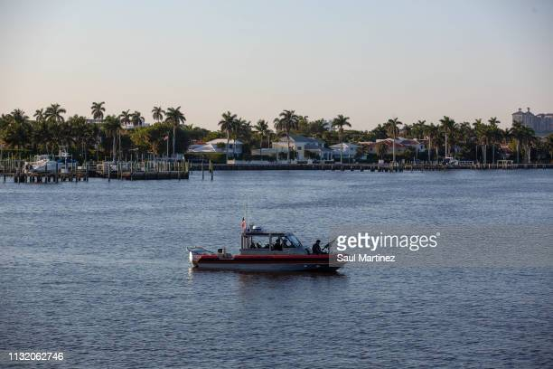 The coast guard patrols the intercostal waters around the MaraLago estate where President Donald Trump is hosting a meeting with Caribbean leaders on...