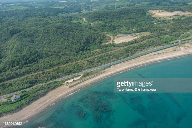 the coast road in shimane of japan aerial view from airplane - 沿岸 ストックフォトと画像