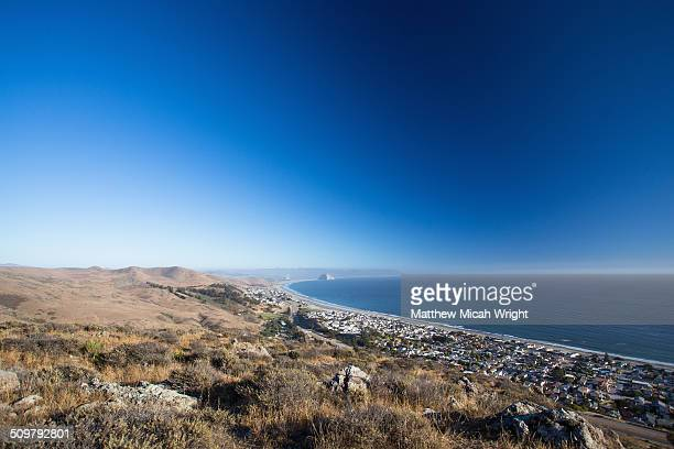 the coastal bluffs of cayucos. - cayucos stock pictures, royalty-free photos & images