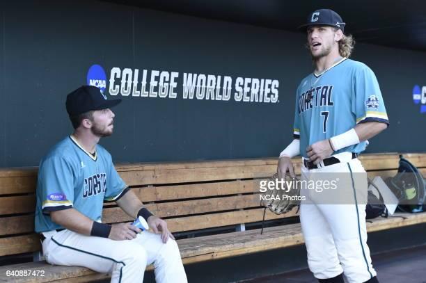 The Coastal Carolina University Chanticleers warm up before the start of Game 2 against University of Arizona during the Division I Men's Baseball...