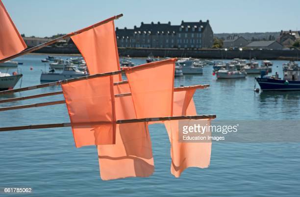 The coastal commune of Barfleur in Normandy northwest France Fisherman's marker flags on the quay