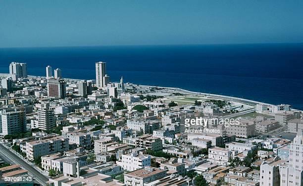 The coastal road or Malecón in Havana Cuba circa 1959