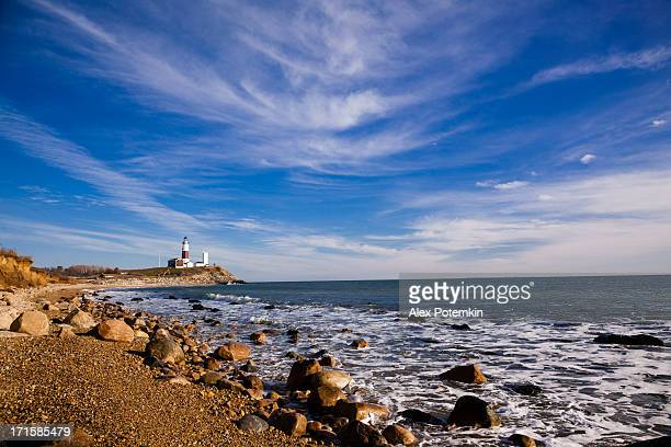 the coastline at montauk point in long island - long island stock pictures, royalty-free photos & images