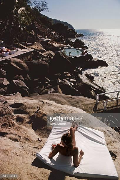 The coastline near Warren Avis' villa in Las Brisas, Acapulco, January 1978.