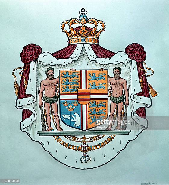 The coat of arms of the Danish royal family Denmark 1973
