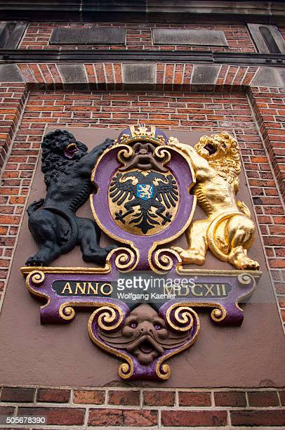 The coat of arms on the old building De Waag the customs house where they weighed the imported goods to calculate the taxes in Nijmegen in the...