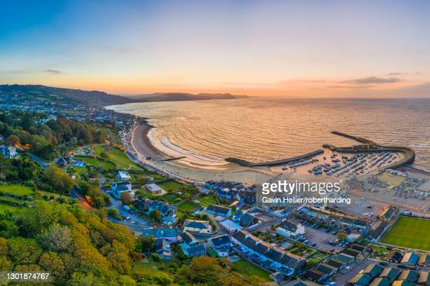 the cobb and beach at lyme regis, dorset, england, united kingdom, europe - gavin hellier stock pictures, royalty-free photos & images