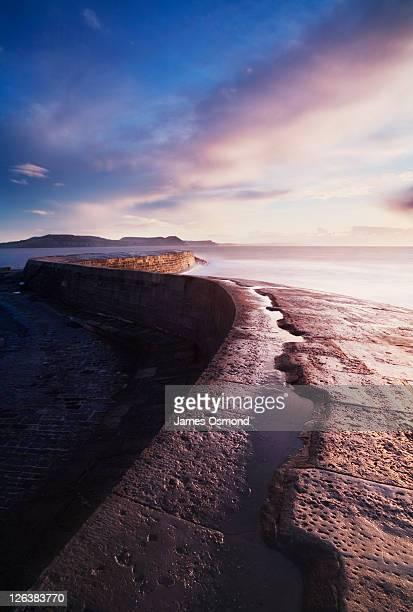 the cobb at sunrise. lyme regis. dorset. england. uk. - lyme regis fotografías e imágenes de stock