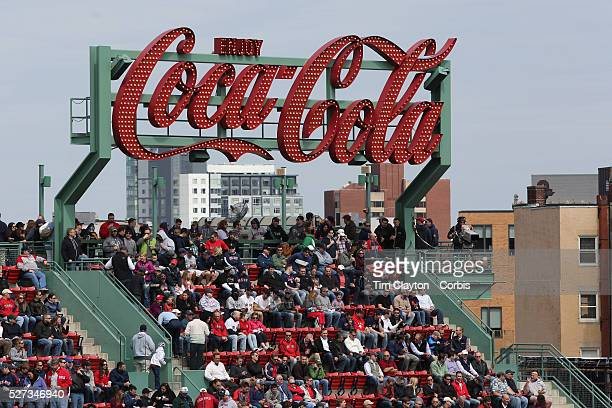 The Coca Cola sign during the Boston Red Sox V Tampa Bay Rays Major League Baseball game on Jackie Robinson Day Fenway Park Boston Massachusetts USA...