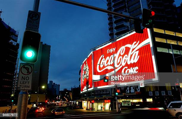 The Coca Cola sign shines brightly in the suburb of Kings Cross, in Sydney, Australia, on Monday, May 7, 2007. Coca-Cola Amatil Ltd., Australia's...
