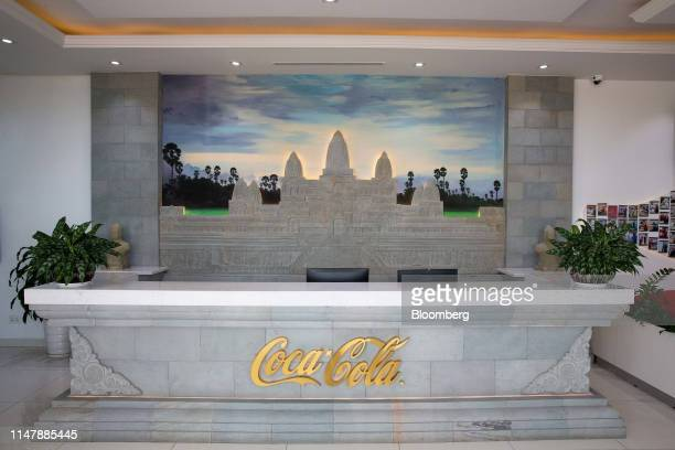 The CocaCola Co logo is displayed at the reception area of the CocaCola Cambodia Bottling Plant operated by Cambodia Beverage Co which is a...