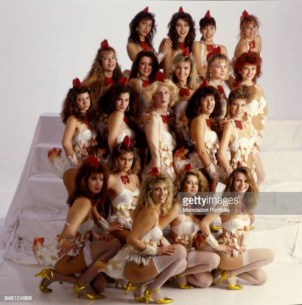 The Coccodé Girls of the TV show Indietro Tutta posing for a photo shooting Above from the left Luana Ravegnini Maria Paola Messina Priscilla...
