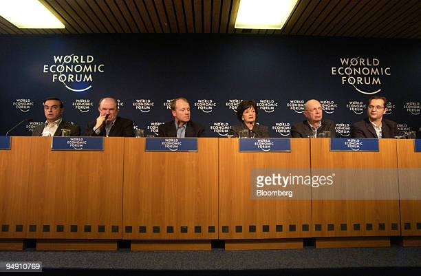 The cochairs of the World Economic Forum Annual Meeting 2004 are seen during the opening press conference in Davos Switzerland January 21 2004 Seen...