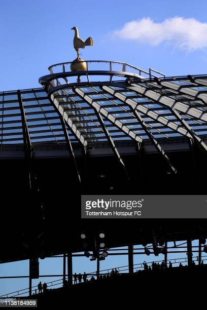 The Cockerel sits on top of the South Stand during the U18 Premier League between Tottenham Hotspur and Southampton at Tottenham Hotspur Stadium on...