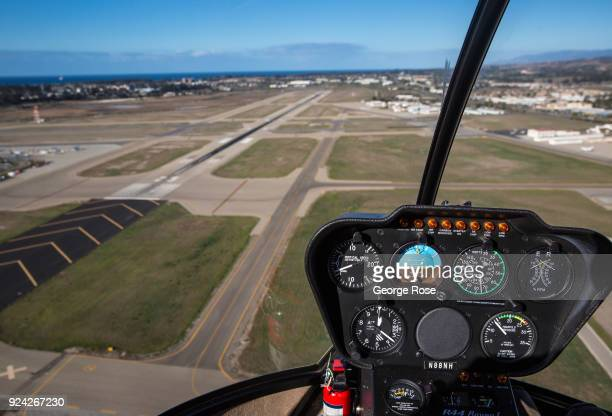 The cockpit and instrument panel of a Robinson RH44 helicopter is viewed in this aerial photo on February 23 in Santa Barbara California A combined...