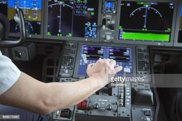 The cockpit of a Boeing 78710 Dreamliner aircraft operated by Singapore Airlines Ltd is seen at Changi Airport in Singapore on Wednesday March 28...