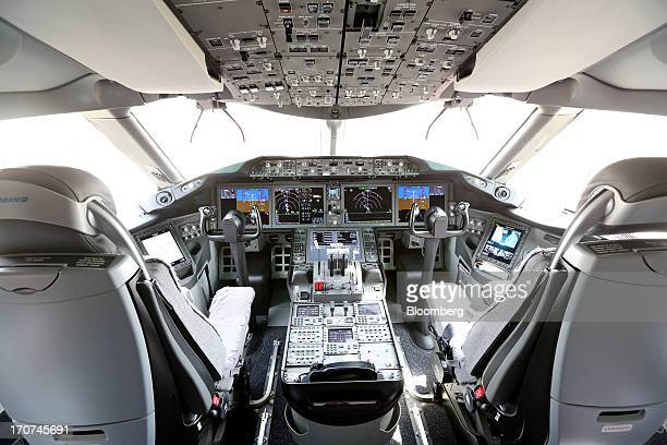 The cockpit of a Boeing Co 787 Dreamliner aircraft is seen on the on the first day of the Paris Air Show in Paris France on Monday June 17 2013 The...
