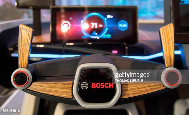 The cockpit of a Bosch concept car is displayed prior to the annual press conference of the annual press conference of German engineering and...