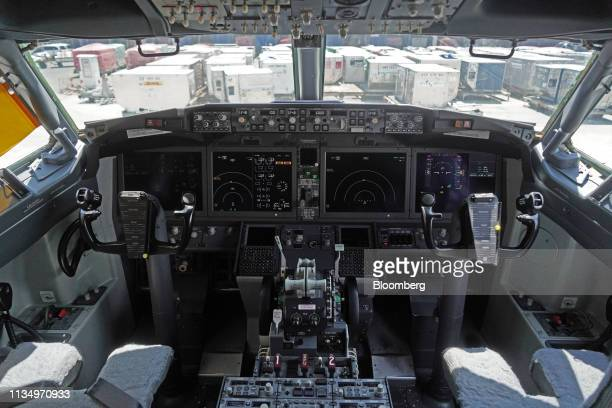 The cockpit of a grounded Lion Air Boeing Co 737 Max 8 aircraft is seen at terminal 1 of SoekarnoHatta International Airport in Cenkareng Indonesia...