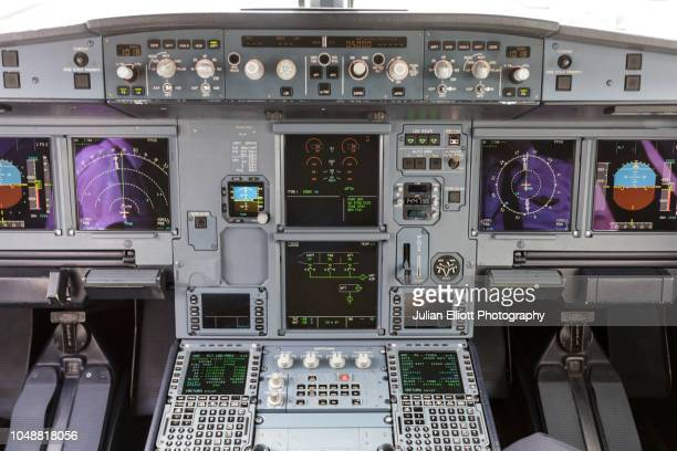 The cockpit of an Airbus A321.