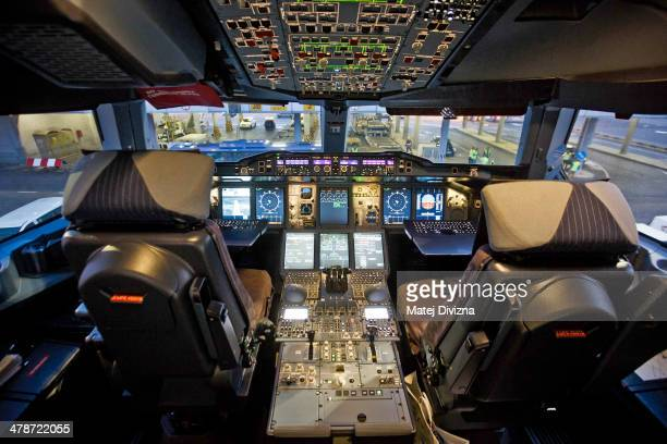 The cockpit of an Airbus A380 operated by Korean Air is seen at Vaclav Havel airport on March 14 2014 in Prague Czech Republic Korean Air Airbus A380...