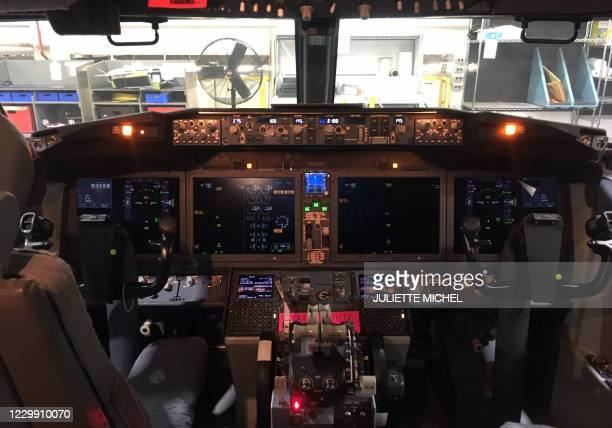 The cockpit of an American Airlines Boeing 737 MAX at American Airlines' main maintenance base in Tulsa, Oklahoma, on December 2, 2020. - The Boeing...