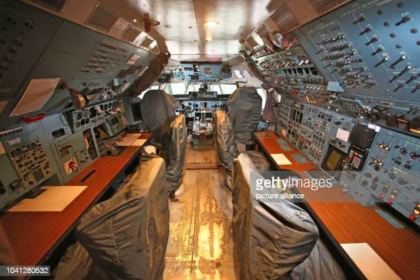 The cockpit of an Antonov AN124 the world's largest freight plane photographed during a press conference held in the plane during the Intec and Z...