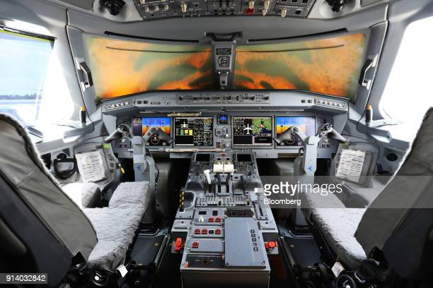 The cockpit of an Embraer SA E190 E2 passenger aircraft prototype is seen during a media preview day at the Singapore Airshow held at the Changi...