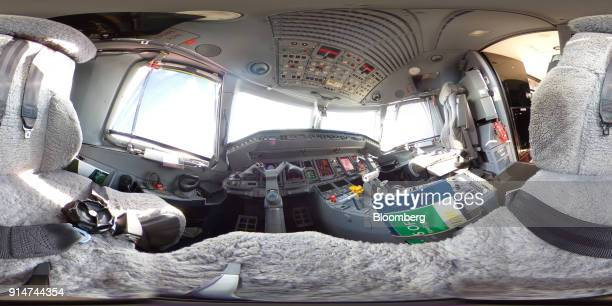 The cockpit of an Embraer SA Legacy 500 jet is seen during the Singapore Airshow held at the Changi Exhibition Centre in Singapore on Tuesday Feb 6...