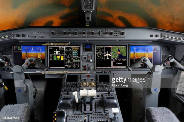 The cockpit of E190 E2 passenger aircraft prototype manufactured by Embraer SA is seen during a media preview day at the Singapore Airshow held at...