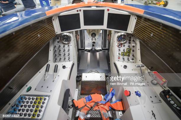 The cockpit of the BLOODHOUND SSC at the Bloodhound Technical Centre in Avonmouth as the car is prepared for testing in Newquay in October