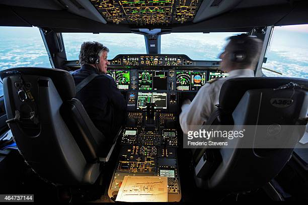The cockpit onboard an Airbus A350XWB test plane at Paris Charles de Gaulle Airport before making its way to Munich on February 27 2015 in Paris...
