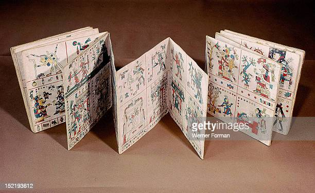 The Codex Fejervary Mayer shown partially unfolded The paintings cover both sides of the codex It is possible that they relate to the beliefs and...