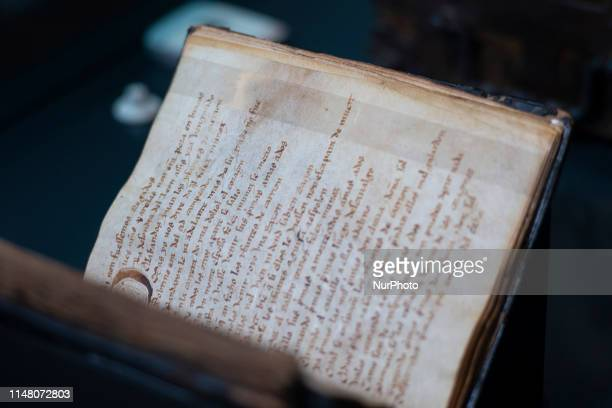 The codex of 'El Cantar de Mio Cid' is displayed at the National Library in Madrid Spain 04 June 2019 The National Library shows the codex for the...