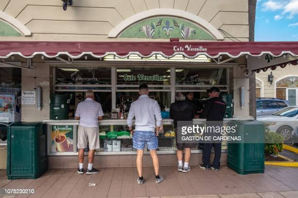 The coffee window is seen at the Versailles restaurant December 22, 2018 in Miami's Little Havana. The place is well known for the Cuban cuisine...