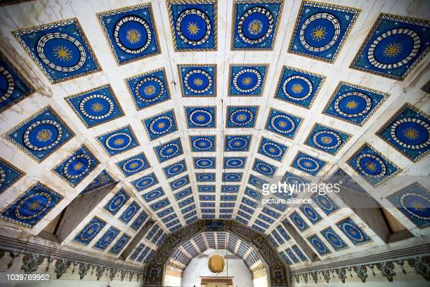The coffered ceiling designed as a starry sky can be seen in the vault of the village church of Benz Germany 18 June 2016 The church on the Baltic...