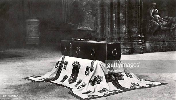 The coffin and pall of the Unknown Warrior of World War One lying on the spot where it will be laid to rest in Westminster Abbey, London on 11th...