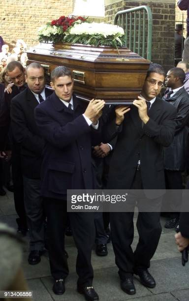 The coffin arriving at the church at Reggie Kray's funeral held at St Matthews Church Bethnal Green east London 11th October 2000 Behind the coffin...