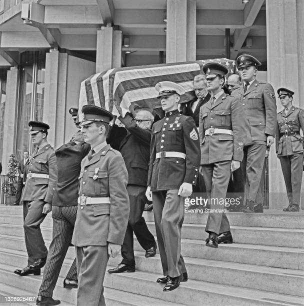 The coffin bearing American diplomat Adlai Stevenson II is carried from the American Embassy in London, UK, 15th July 1965. Stevenson, the United...
