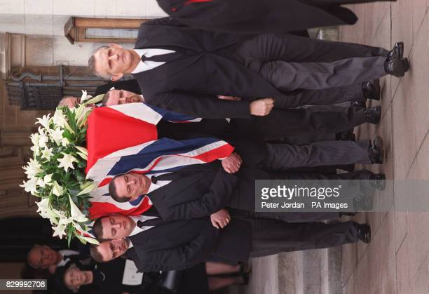 The coffin bearing the former Conservative and Ulster Unionist MP Enoch Powell is carried by pall bearers from St Margaret's Church Westminster after...