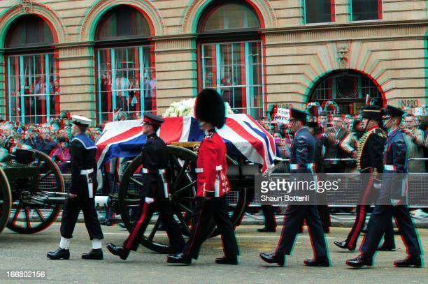 The coffin carried on a horse drawn gun carriage during the Ceremonial funeral of former British Prime Minister Baroness Ma5rgaret Thatcher on Fleet...